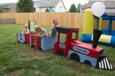 Homemade train made out of cardboard for my son's train birthday party