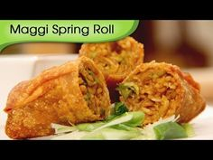 Maggi Noodles Spring Roll - Fast Food Recipe by Ruchi Bharani - Vegetarian [HD] Veg Starter Recipes, Veg Spring Rolls, Easy To Make Appetizers, Maggi Recipes, Chaat Masala, Fast Food, International Recipes, Easy Cooking, Indian Food Recipes