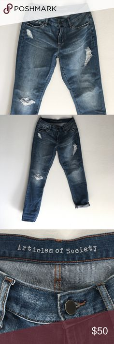 ARTICLES OF SOCIETY -boyfriend jean awesome for bf jeans. an la brand. slightly distressed. and bottom hem is frayed around the ankle. on purpose :)  make an offer !! Articles Of Society Pants