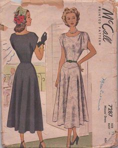 BEAUTIFUL Dress Pattern McCall 7287 Draped Shoulders Flattering Yoked Skirt Day or Evening Cocktail Dress Bust 30 Easy To Sew Vintage Sewing Pattern -Authentic vintage sewing patterns: This is a fabulous original dress making pattern, not a cop 1940s Dresses, Vintage Dresses, Vintage Outfits, Vintage Fashion, Vintage Style, Dress Making Patterns, Vintage Dress Patterns, Clothing Patterns, Fashion History