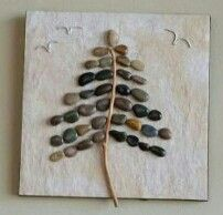6x6 wall tile. Pebbles/stones, driftwood and wire. Indoor decor. By Monelle