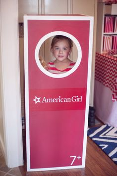 Boxed American Girl Doll - Photo Booth from an American Girl Doll Themed Birthday Party via Kara's Party Ideas! KarasPartyIdeas.com (7)