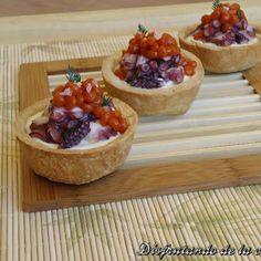 Tartaletas de Pulpo y Caviar de Tomate Asado