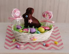 RESERVED FOR BEVERLY - Miniature Easter Basket With A Chocolate Bunny, Colored Eggs, Easter Candy, and 2 Swirl Lollipops