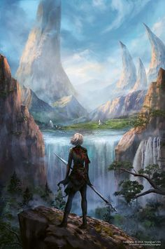 Fantasy Landscape by Hoàng Lập (Solan) // past the waterfalls and creeping mountains lay the kingdom of water's run, a marvel to all men alike and unlike Fantasy City, Fantasy Forest, Fantasy Castle, Forest Art, Fantasy Places, High Fantasy, Fantasy World, Fantasy Concept Art, Fantasy Story
