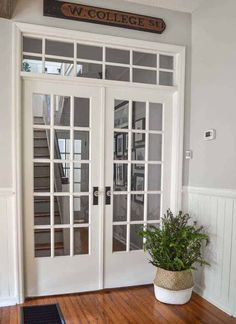 How to Install French Doors with a Transom Window [Part Hallway Makeover] For the first step of our downstairs hallway makeover, we totally transformed it by widening the doorway and installing a set of antique French doors with a DIY transom window ab