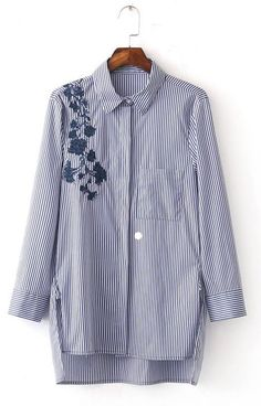 Specifications: Decoration:Embroidery Clothing Length:Long Sleeve Style:Regular Pattern Type:Striped Style:Fashion Fabric Type:Broadcloth Material:Polyester Collar:Turn-down Collar Sleeve Length:Full