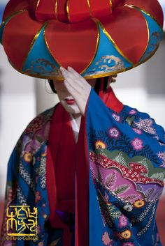 The Okinawa's dancer Inamine Miho during a performance in Milano, wearing a great kimono of Bingata from Okinawa. Photo © Flavio Gallozzi photogrpaher in Milano, London and Tokyo - All rights reserved
