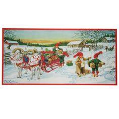Julbonad Curt Nyström nu 79 kr (ord. Christmas Gnome, Christmas Paper, Christmas Cards, Scandinavian Art, Scandinavian Christmas, Swedish Christmas Traditions, Elsa Beskow, Old Cards, Christmas Illustration