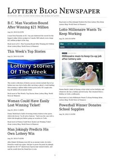 Lottery Blog Newspaper for 25th August.