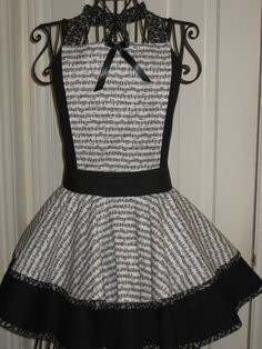Music Notes Black and White Ladies Hostess Apron Treasury item 605. $65.00, via Etsy.