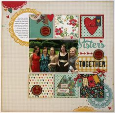 #papercraft #scrapbook #layout. Sisters together.  A Technique Tuesday & Simple Stories Homespun Layout by Mendi Yoshikawa - Scrapbook.com