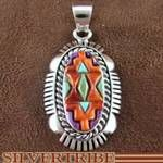 Sterling Silver Oyster Shell and Multicolor Inlay Pendant
