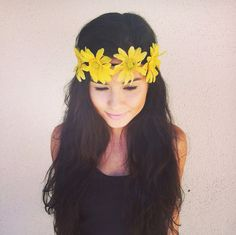 Flower Crown Headband, Coachella, Music festival, Rave accessory - Yellow sunflower  headband