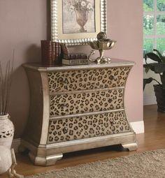 leopard print furniture images | Gold Tone Finish Modern Cabinet w/Leopard Print Accents