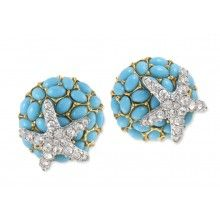 turquoise and crystal starfish clip earring