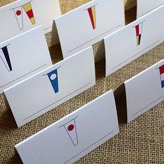 Nautical Flags Tented Placecards DesignCorral.com