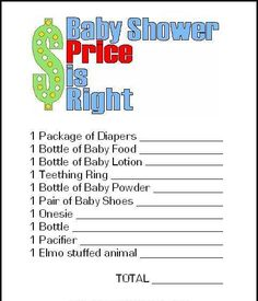 the price is right fun games for baby showers