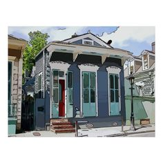 Creole Cottage, Lake Cottage, Cottage House, Tiny House, Exterior Paint Colors, Exterior House Colors, New Orleans Homes, New Homes, Haint Blue