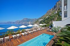 """An authentic design hotel in the heart of the Amalfi Coast. The gourmet Mediterranean cuisine at """"Un Piano nel Cielo"""" restaurant. Sorrento Amalfi Coast, Hotel Amalfi, Amalfi Coast Hotels, Amalfi Coast Italy, Positano Italy, Wild Style, Design Hotel, Beste Hotels, Hotel Pool"""