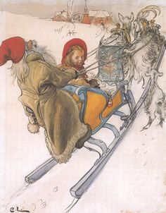 "Carl Larsson (Swedish, 1853-1919), ""Kersti's Sleigh Ride""♥"