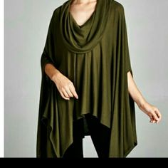 The Autumn Tunic in Olive size osfm The Autumn Tunic in a flawless Olive shade This soft Tunic is one size Material is polyester and spandex  Perfect for Fall Wear with your favorite leggings  No trade  Discount on bundles PRICE FIRM UNLESS BUNDLED Boutique  Tops Tunics