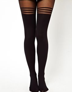 ASOS 40 Denier Tights With 3 Hoop Over The Knee Design