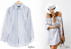 Before & After: Men's Shirt Into An Off The Shoulder Dress | a pair & a spare | Bloglovin'