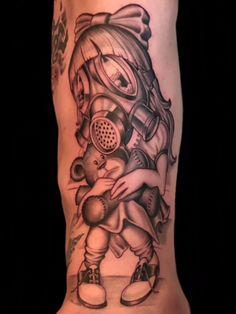 Black and grey new school illustrative tattoo by Daniel Farren!