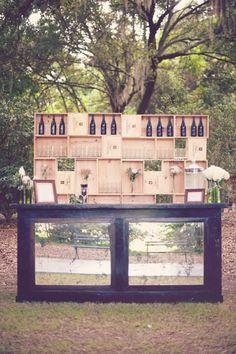 Rustic wine bar #outdoorwedding #reception #rusticwedding #weddingideas #winebar