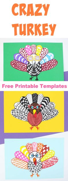 This crazy turkey art is so much fun! Making a crazy turkey is one of those doodle art projects loved by all ages at any time of the day! #fallcrafts #thanksgivingartprojects #crazyturkey #easyfallcraftsforkids