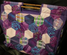 This is a bag made with hexagons that I keep my patchwork projects in.