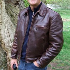"""AeroLeather """"Highwayman"""" in thick front quarter horsehide. Leather Jacket Outfits, Men's Leather Jacket, Vintage Leather Jacket, Fashion Wear, Mens Fashion, Black Leather Motorcycle Jacket, Designer Leather Jackets, Riders Jacket, Cool Jackets"""