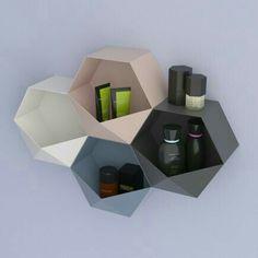 Hexagon origami shelf – SEI by Michela Catalano & Lucio Pacifico Origami Furniture, Diy Cardboard Furniture, Metal Furniture, Nordic Furniture, Home Decor Furniture, Furniture Design, Joinery Details, Home Interior, Interior Decorating