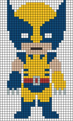 Wolverine X-Men  perler bead pattern                                                                                                                                                      More