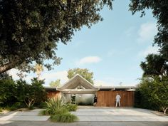 Twin Gables: A Mid-century Eichler House in Silicon Valley Gets a Minimalist Update - Remodelista Architecture Design, Concept Architecture, Residential Architecture, Beam Structure, Gable House, Casa Loft, Glazed Walls, Through The Roof, Indoor Outdoor Living