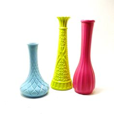 vintage milk glass vases  //  upcycled vase collection, lime green, hot pink, aqua, kitschy decor, 60s, colorful, bright summer trends. $26.00, via Etsy.