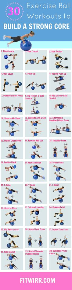 30 Exercise Ball Core Workouts. These Swiss Ball exercises are effective in improving your core strength. #weightlosssmoothiesrecipes