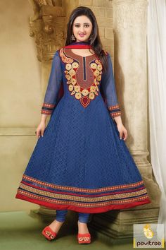 In this cobalt blue chiffon party wear Anarkali Salwar Suit, there is nice designs work just like embroidered work, sequence work and patch work and lace patti work.
