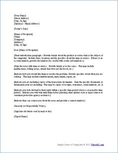 Customer complaint letter template pinterest customer complaints free sample letter templates spiritdancerdesigns Images