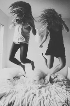 sometimes u gotta be a kid again ...Jump on the bed...love this photo