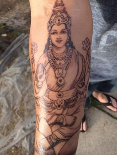 Holly's Lakshmi tattoo by Joe at Kitchen's Ink Denver