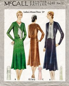 A gorgeous art deco era day dress circa 1930. Drop waist, zig zag geometric skirt inset, bodice in three variations.  Bust 36 Hips 39 Finished length from back of neck to hem 46 ★ ★ ★ ★ ★ ★ ★ ★  You will receive a high quality reproduction with full scale pattern pieces printed on white paper. This is a clean, computer drafted file printed to actual size. Instructions are included. ★ ★ ★ ★ ★ ★ ★ ★ Lady Marlowe 2017. All rights reserved. No portion of this pattern may be photocopied or…
