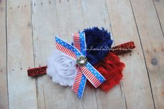 Red White and Blue Shabby Chic Flowers by LauraLeeDesigns108, $7.99