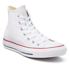 Adult Converse Chuck Taylor All Star Leather High-Top Sneakers ($70) ❤ liked on Polyvore featuring shoes, sneakers, white, white high tops, star sneakers, white hi tops, white leather sneakers and converse shoes