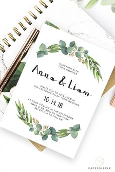 Give the perfect first statement of your big day to your friends and family with this greenery Rich Eucalyptus wedding invitation. It's perfect for any outdoor or forest wedding. Simply download, edit, trim and print! #diywedding #greenerywedding #greenwedding #greenleaves #eucalyptus #watercolorleaves #weddinginvitations #weddingprintables #weddingcrafts #forestwedding #enchantedforest #outdoorwedding