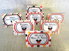 Mickey Mouse Clubhouse Party - Food Tents / Food Signs / Food Labels - set of 5 or 10 Mickey Mouse Food, Mickey Mouse Clubhouse Party, Mickey Mouse Birthday, Party Food Names, Party Food Signs, 3rd Birthday Parties, 2nd Birthday, Birthday Ideas, Food Tent