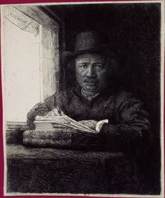 Rembrandt Self Portrait Drawing at a Window, ca. 1648 - Before Rembrandt's time, etching was seen as an inexpensive alternative to engraving and a means of working quickly, if not very precisely. Rembrandt Etchings, Rembrandt Self Portrait, Rembrandt Drawings, Self Portrait Drawing, Rembrandt Art, Städel Museum, Baroque Art, Dutch Painters, Art Institute Of Chicago