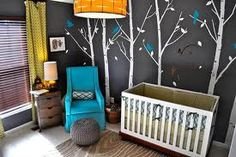 Love the grey wall with white trees