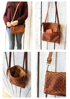 Handmade Italian  Vintage woven Leather  Clutch di LaSellerieLimited su Etsy